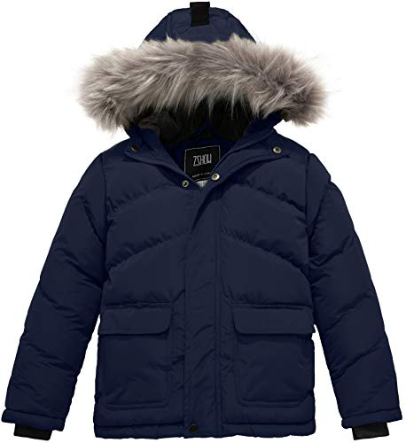 ZSHOW Boy's Thick Winter Jacket Puffer Coat Windproof Padded Hooded Parka(Navy,14-16)