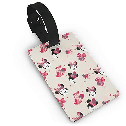 DNBCJJ Etiquetas de equipaje para maletas Rosa Minnie Mouse etiqueta de equipaje, con nombre ID maleta para mujeres, hombres, niños y accesorios de viaje