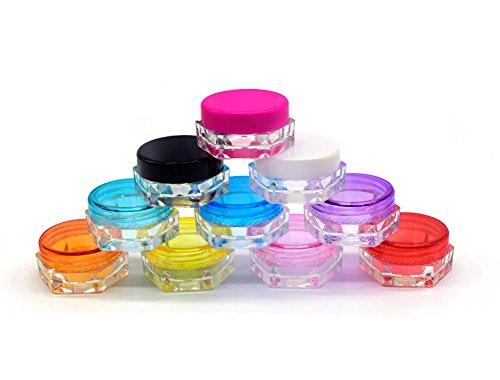3g / 3ml bocaux cosmétiques vides en plastique hexagone avec des couvercles pour des crèmes/échantillon/maquillage/r Lotion de stockage maquillage baume testeur de voyage (25) (blanc)