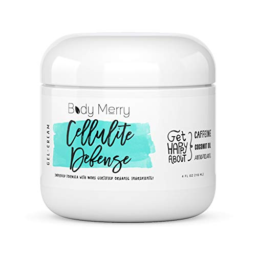 Body Merry Cellulite Defense Gel-Cream - Anti Cellulite Body Treatment for Firming & Toning w/Natural Caffeine + Coconut Oil + Peppermint (Original, 4oz)