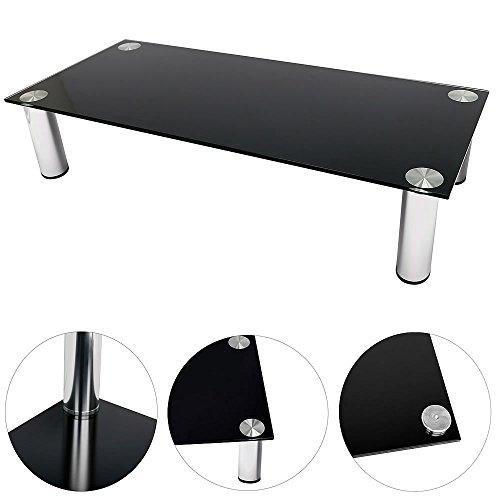 Melko TV-Aufsatz Schwarz Glasaufsatz 100 cm Monitorerhöhung Bildschirmständer Glasaufsatz für TV bis 30kg belastbar