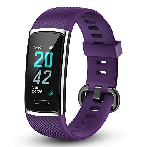 LETSCOM - Pulsera de fitness con pulsómetro, resistente al agua, contador de calorías, podómetro, monitor de sueño, pantalla a color, IP68, resistente al agua para niños, mujeres y hombres, morado