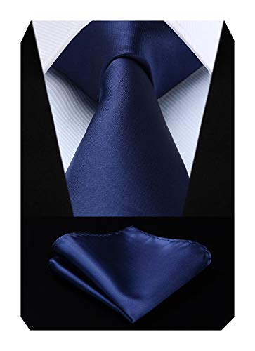 HISDERN solido azul marino corbata panuEIo boda fiesta clasico corbataoconjunto de panuEIos de bolsillo para hombre