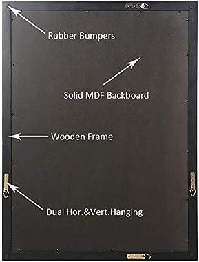 ANDY STAR Bathroom Mirror for Wall, Wall Mounted Mirror 24x36 Inch Black Wood Frame, Clean Floating Panel Hangs Horizontal or Vertical for Bathroom Vanity, Living Room, Bedroom