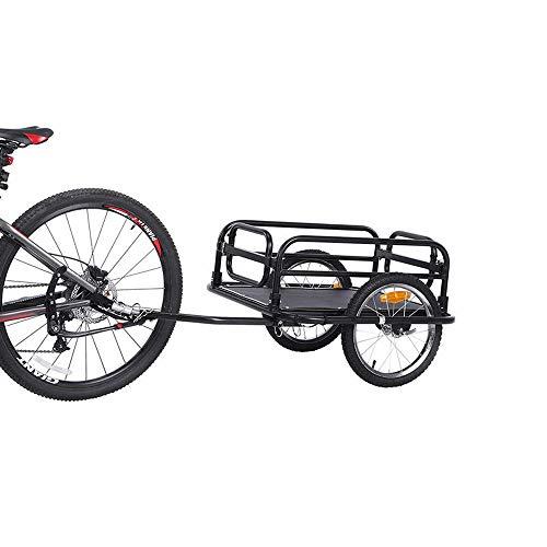 QWERTOUY Remorque de Bicyclette de la Grande Roue 16inch, remorque Pliable de Cargaison de Bicyclette de capacité, Chariot de Roues à air pour Le Camping extérieur