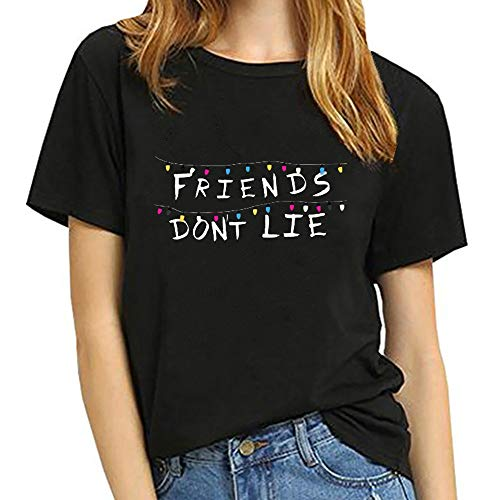Stranger Things Shirt Damen, Teenager Mädchen Stranger Things Friends Dont Lie Sommer T-Shirts Frauen Upside Down Kurzarm Tshirts Sport Casual Blusen Shirt Oberteile Tops Hemd Sale (Schwarz 2,S)
