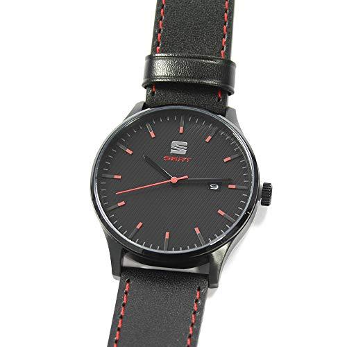 Seat 6H1050800AGAA Quarzuhr mit Edelstahlgehäuse Armbanduhr, schwarz/rot