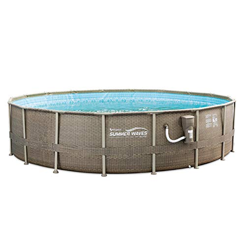 Summer Waves 18ft x 48in Elite Frame Swimming Pool with Exterior Wicker Print -  P4N01848B167