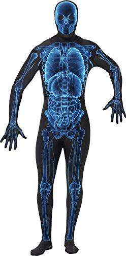 """Smiffys-21622S Disfraz Hombre radiografía Segunda Piel, con Traje Entero, Cremallera escondida, Color Azul y Negro, S-Tamaño 34""""-36"""" (Smiffy'S 21622S)"""
