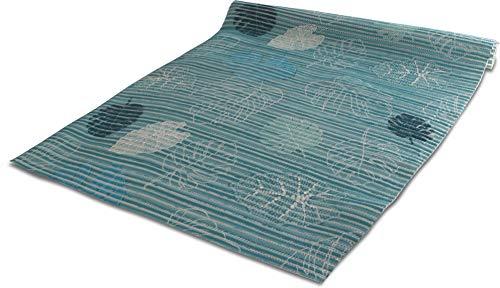 65 cm oder 130 cm briter Badvorleger / rutschfeste Matte / Bodenbelag aus PVC Weichschaum, wasserabweisend und rutschhemmend für Bad, Dusche oder Küche Farbe Blue leaves Größe 65 cm x 50 cm