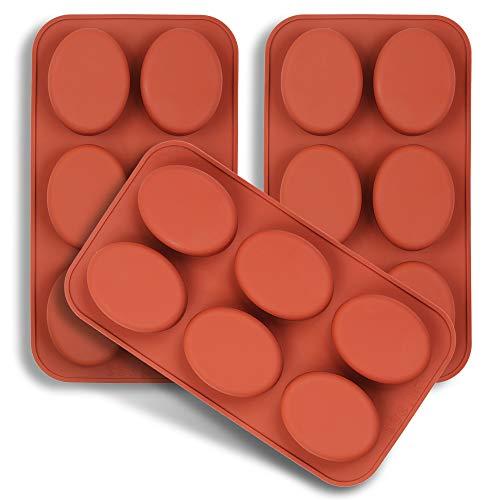 homEdge Moule en silicone ovale à 6 cavités, 3 paquets de moules ovales pour la fabrication artisanale de savon, chocolat, bougies de savon et gelée brune
