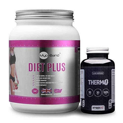 Myoband Diet Plus Pack Includes 1 X Diet Plus Protein (500g) & 1 X Lab Series Thermo (90 Tablets) (Strawberry)