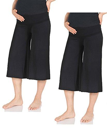 Beachcoco Women's Maternity Comfortable Capri Pants (L, Black (Pack of 2))