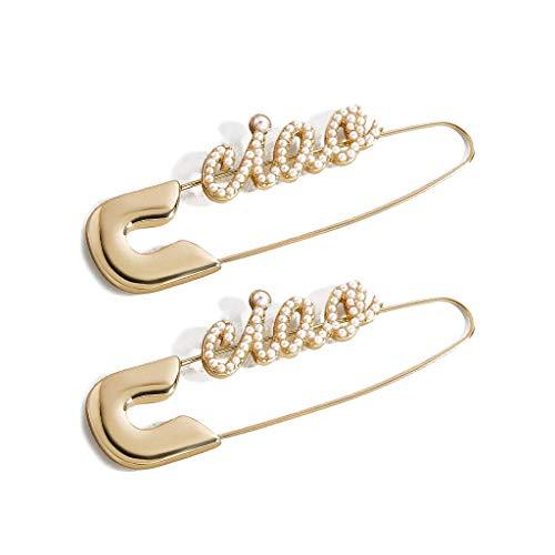 Rongzou Oorbellen Chic Golden Safety Pin Studs Parel Kristallen Inlaid Hoop Oorbellen Vrouwen Sieraden