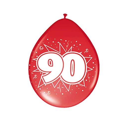 NET TOYS Luftballone Geburtstag Zahlenballone 90 Jahre Geburtstagsballons Bedruckte Latexballons Ballon Geburtstagsfeier Party Dekoration Dekoballon
