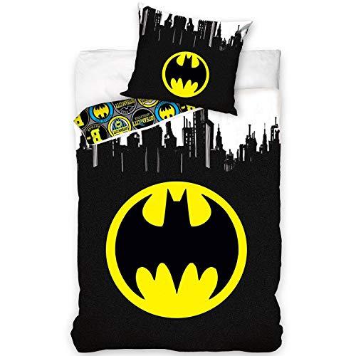 Batman Super Heros Parure de lit réversible 100% Coton Housse de Couette 140x200 cm + Taie d'oreiller 70x80 cm