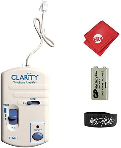Clarity HA40 Portable Telephone Handset Amplifier Bundle with Cable Tie and Microfiber Cloth product image