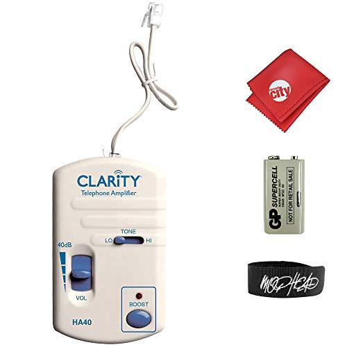 Clarity HA40 Portable Telephone Handset Amplifier Bundle with Cable Tie and Microfiber Cloth