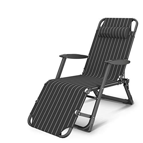 KHL Nouveau Noir et Blanc Bandes Respirant Durable Chaise Pliante Déjeuner Pause Inclinable Chaise Unique Loisirs Portable Dossier Chaise Paresseuse Lit Chaise À Double Usage