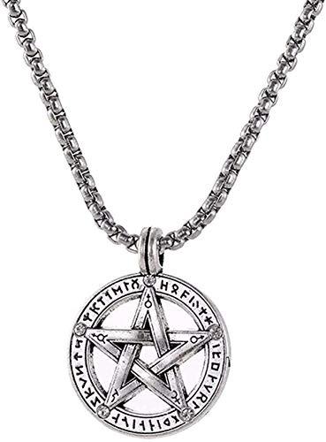 Aluyouqi Co.,ltd Collar Collar Wicca Hip Hop Joyas para Hombres Acero Inoxidable Estrella De David Aleación Chapado En Plata Collares Pendientes Amuleto Regalo