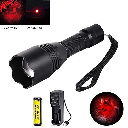 LED Taschenlampe Rotlicht, Jagdtaschenlampe mit Rotlicht Zoombar für Jagd Nachtsicht und Astronomie