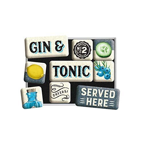 Nostalgic-Art 83115 Open Bar – Gin & Tonic – Geschenk-Idee für Cocktail-Fans, Magnetset für Magnettafel, Vintage Design