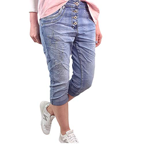 Karostar by Lexxury - Bermuda da donna in denim Capri pantaloni corti, con toppe e strass Denim Star XXL