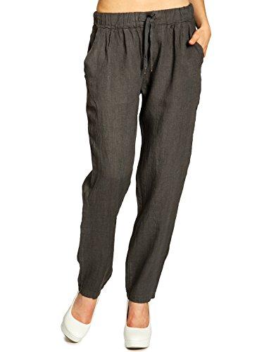 Caspar KHS045 Pantalones Casuales de Verano de Lino para Mujer Cintura Elástica