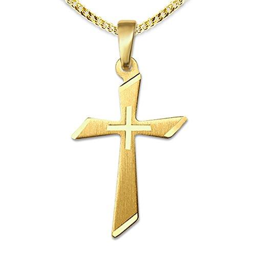Clever Schmuck Set gouden hanger klein kruis 18 mm mat en gediamanteerd, schuin afgeronde vorm 333 goud 8 karaat met vergulde ketting 42 cm