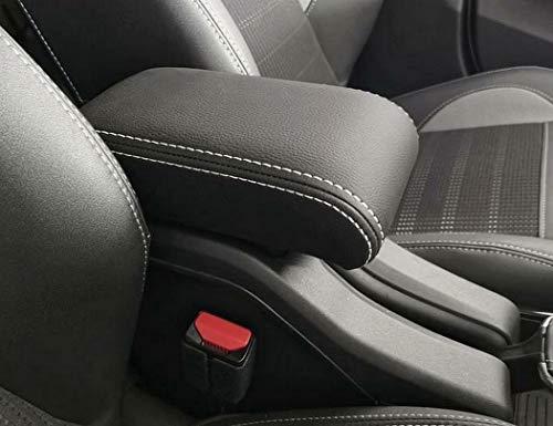 bracciolo Peugeot 2008 2013-2019 nero e CUCITURE DOPPIE BIANCHE Originale Wood Company