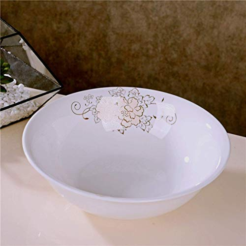 TIN-YAEN Ceramic Bowl Noodles Rice Soup Porridge Tableware Fruit Salad Tray Stirring Dish Heart Flower Blooming Pattern 23x7cm Bowls