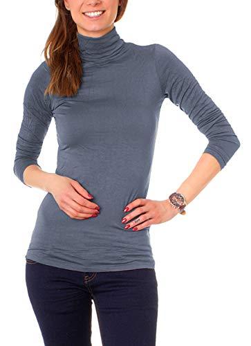 Easy Young Fashion Basic Damen Rollkragen Jersey Shirt Unterzieher Longsleeve Enganliegend Langarm Einfarbig One Size Jeansblau