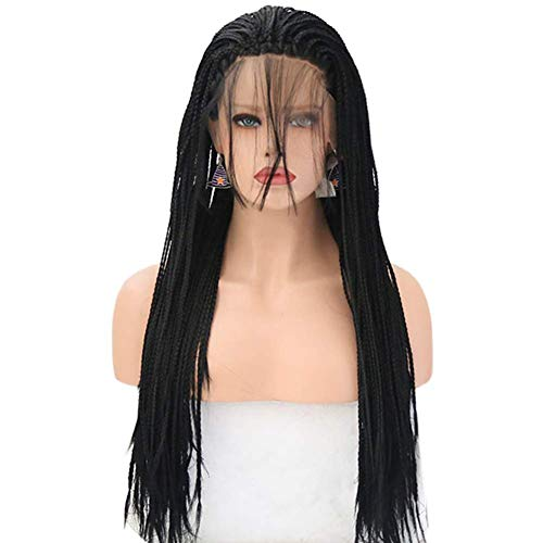 """Braided Wigs Lace Front Black Hair for Women Synthetic Heat Resistant Long Braids Wig with Baby Hair Glueless Half Hand Tied (24"""")"""