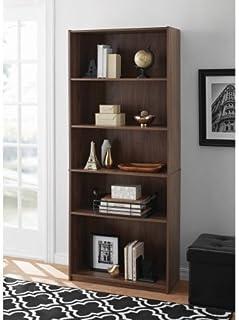 Mainstay 5-Shelf Wood Bookcase, White (White)