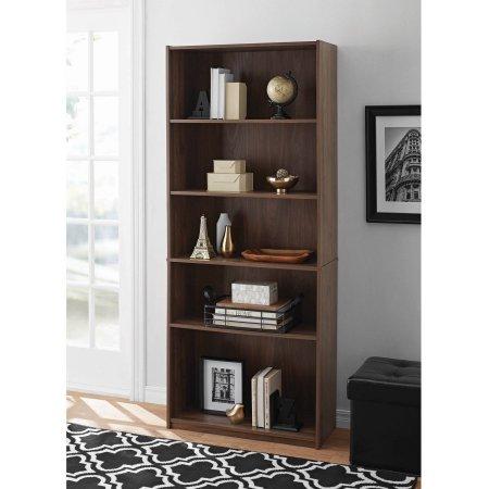 Mainstay 5Shelf Wood Bookcase  Walnut