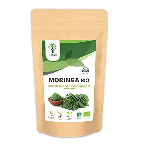 Moringa Bio - Bioptimal - Complément alimentaire - Poudre de Moringa Oleifera Pur - Antioxydant Immunité Anti-Fatigue Vitamine A C E - Origine Kenya - Conditionné en France - Certifié Ecocert - 100 g