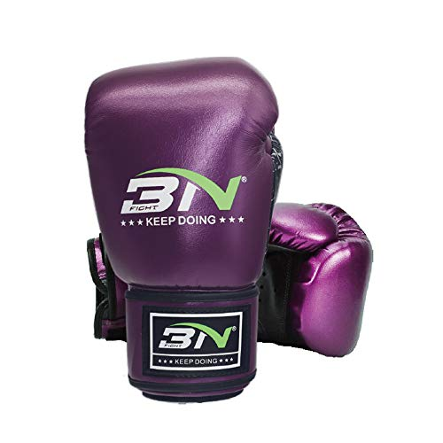 Ddl UPC Boxen Trainingshandschuhe Mikrofaser Leder Adult Fight Sparring Handschuhe Mit Verstellbarem Armband-Muay Thai, Kickboxen, Kampfsporttraining, Sparring, Boxen,Lila,10OZ