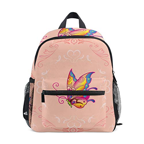 Cartoon Butterfly Toddler Backpack Bookbag Mini Shoulder Bag for 1-6 Years Travel Boys Girls Kids with Chest Strap Clip Whistle