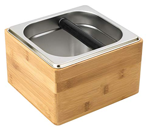 Cafefuji Espresso Knock Box Stainless Coffee Grind Knock Box Espresso Dump Bin Solid Wood Base Durable Bamboo Color