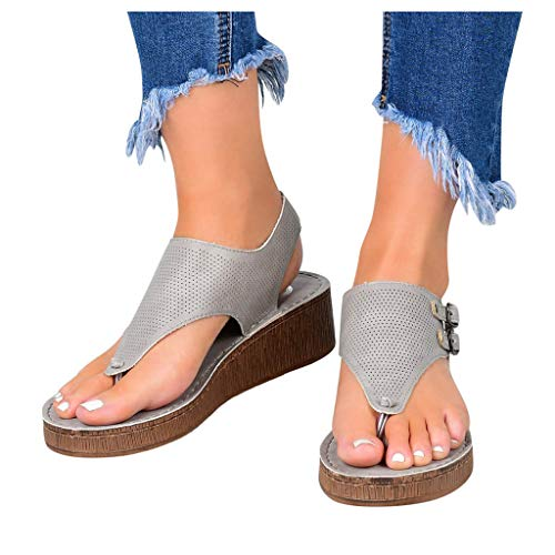 Best Prices! kaifongfu Women's T Strap Sandals Flip Flop Casual Hollow Out Flat Wedge Sandals(1-Gray,42)