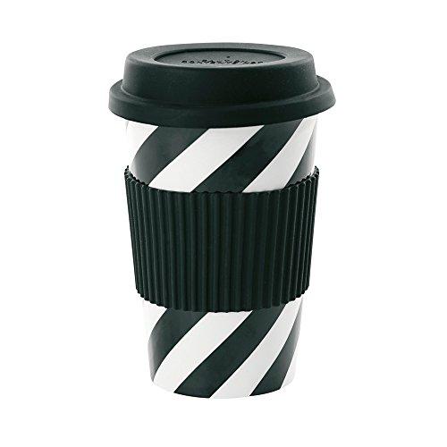 Mug Tasse en céramique Gobelet de voyage Travel Mug Noir avec rayures blanches