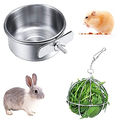 Heuball Kaninchen und Kaninchen Futternapf, Heuball zum Aufhängen aus Edelstahl Metall Heuball Kaninchen Spielzeug für Hase Meerschweinchen Kaninchen Chinchillas Hamster (A01)