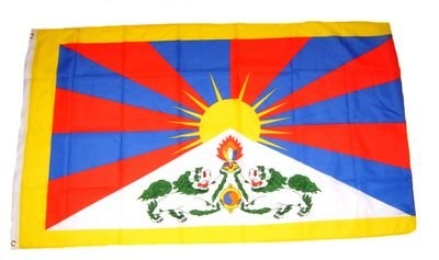 Flaggenking Tibet Flagge/Fahne - wetterfest, mehrfarbig, 150 x 90 x 1 cm