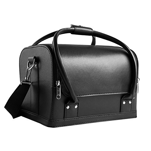 HBF Borsa Cosmetici Nera in Pelle Tracolla Rimovibile Organizer Borsa Make Up Multipurpose Beauty Case da Viaggio