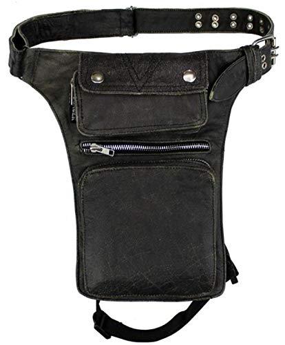 EURO STARS Leder Beintaschen Braun, Leather leg bag grey