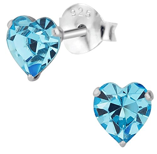 Sterling Silver Aquamarine Crystal Heart Stud Earrings