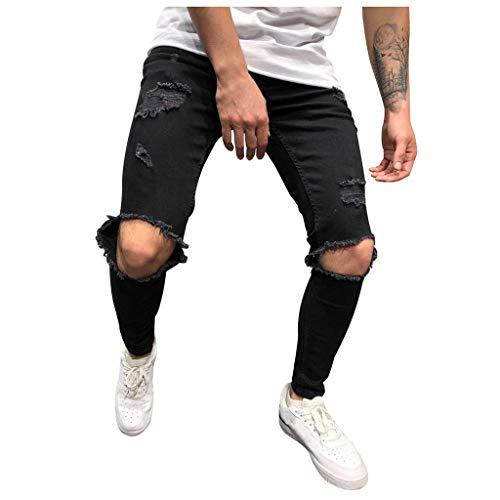 Homme Pantalon en Denim Serré Trou Biker DéChiré Jeans Skinny Cargo Straight Slim Taille Haute Stretch éLastique Pants Casual Automne Hole Vintage Wash Hip Hop Work Trousers(Black,S)