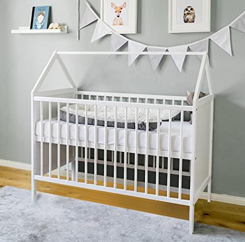 Babybett Beistellbett Kinderbett und Hausbett in einem - 120x60 weiß, höhenverstellbar und umbaubar