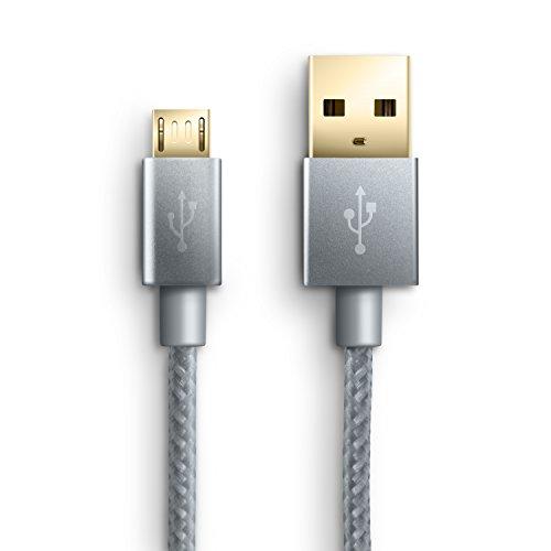 2m Premium Cable MicroUSB a USB de alta velocidad - Nylon trenzado - Cable cargador y de datos - Cable de carga rápida - para Android Samsung HTC Motorola Nokia LG HP Sony Blackberry - plateado