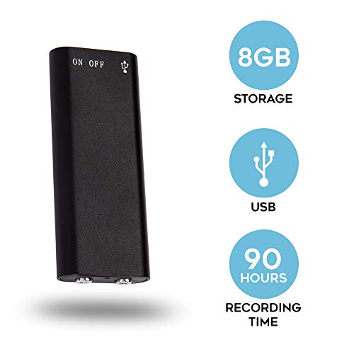 SpyCentre Security Micro Audio Recorder - Small Voice-Activated Recording Device - 8GB Memory Stores 90 Hours